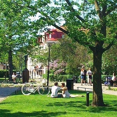 Stadsparken en sommardag. Foto: Ängelholms Näringsliv.