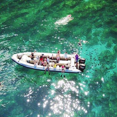 The 30' Zodiac raft in a gorgeous snorkeling area of Kauai.