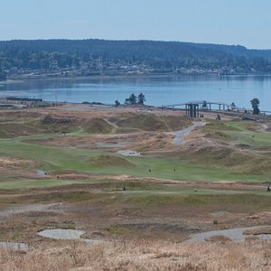 Golf course and water view