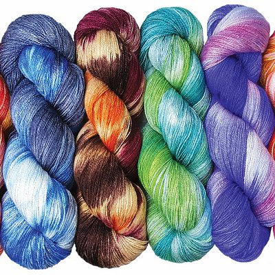 Hand painted yarns for sock knitters.