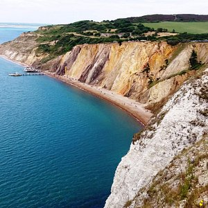 Alum Bay with its multi-coloured sands