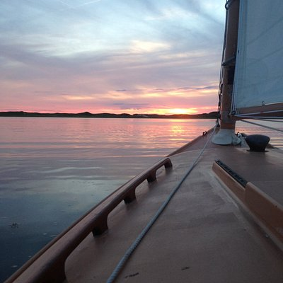 Sunset from GALA VI in Wellfleet Harbor, where no two sunsets are alike!