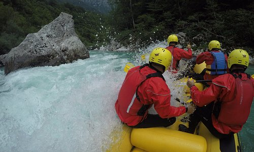 Whitewater rafting on emerald river Soča