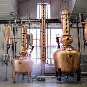 The Spirt and Stripping Stills at Nauti Spirits Distillery
