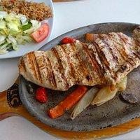 Chicken with grilled veggies, rice and salad