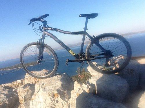 Rented bike, photo taken at Straza peak, Pasman