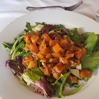 We BOTH fot the butternut squash apple canided walnut salad with nice dressing, mine with no che