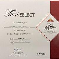 1 of 2 restaurants in AZ with this designation of genuine Thai food!