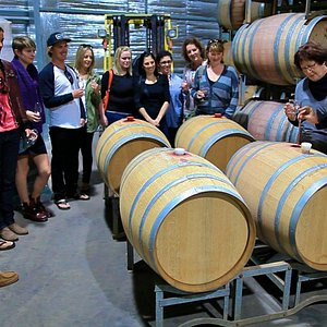 Wine tasting from the barrel at one of our favourites Brown Hill Estate