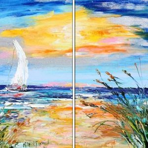 Paint with a partner... Create a large piece at Uptown Art