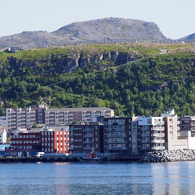 Salen lookout and the zig zag way from across the fjord.