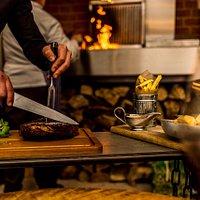 Steak carved