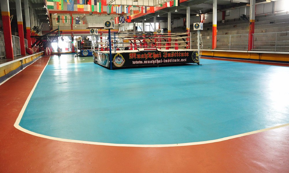 Indoor Gym with 2 MuayThai standard rings with heavy bags, all equip and other activities.