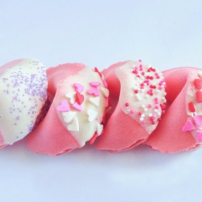 White Chocolate Dipped Fortune Cookies