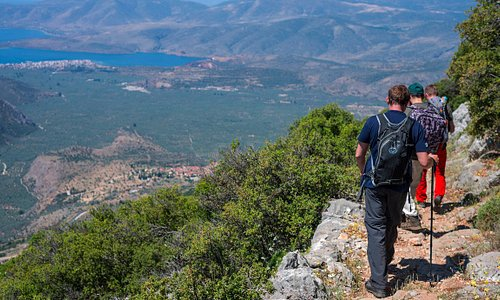 Hinking the Ancient Footpath - view on the Olive Grove and the Corynthian Golf