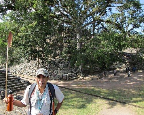 Yobani Peraza in the Mayan site of Copan Ruinas