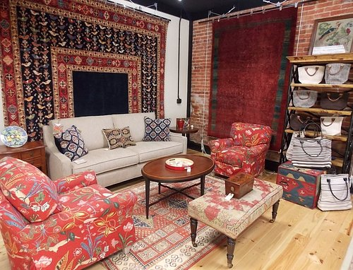 Unique hand knotted carpets, American made upholstery, and fine art.