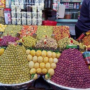 Olives and pickled lemons at a souk...