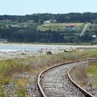 Un rail de chemin de fer la longe et la surplombe