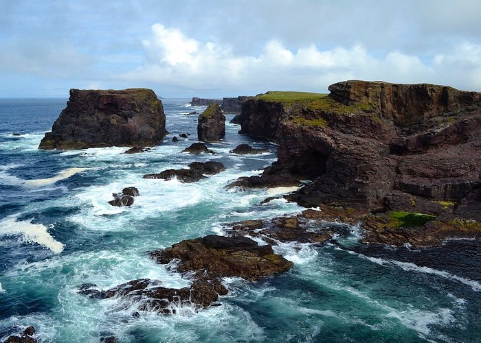 Eshaness cliffs when wind blowing from west