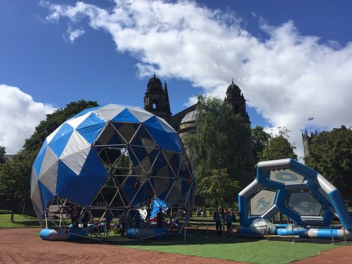 the bungydome and bubblepod by the ross bandstand in the west princes street gardens