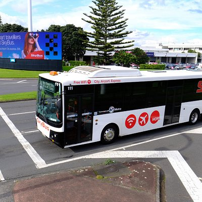 SkyBus Modern Fleet with Free Wifi and Luggage Racks departing Auckland Airport