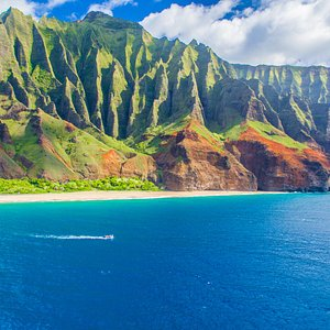 Our boat photographed in front of Kalalau Beach