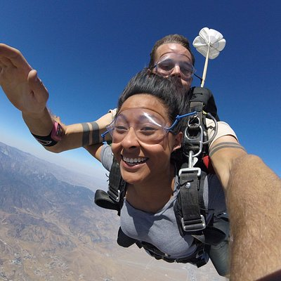 Tandem Skydive at SKydive West Coast, over the San Jacinto Mountains, CA.