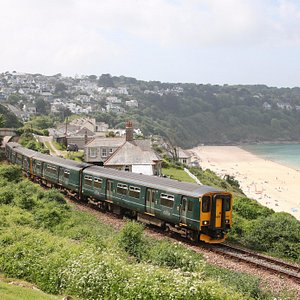 Train at Carbis Bay on the St Ives Bay Line