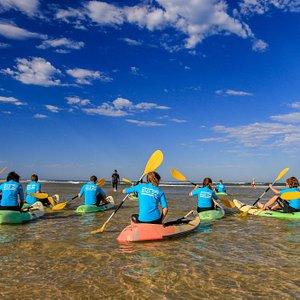 Initiation au waveski sur la plage sud de Mimizan, découverte de l'embarcation