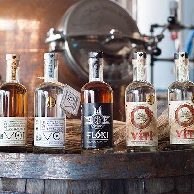 Our product lineup in 2016; Vor Barrel Aged, Vor Small Batch, Flóki Young Malt, Víti Aquavite.