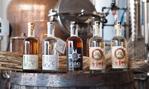 Our product lineup in 2016; Vor Barrel Aged, Vor Small Batch, Flóki Young Malt, Víti Aquavite.