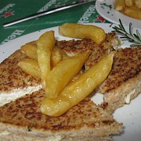 Toasted chicken mayo with chips.  Really yummy!!