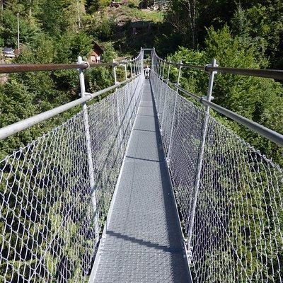 Fussgaenger-Hangebruecke, el puente a lo largo.