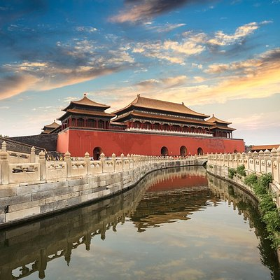 A photo of sunset in the Forbidden City