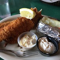 Almond-crusted Walleye Special, soup or salad, choice of potato. Try some fried cheese curds fir