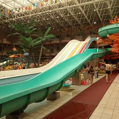 The waterslides are very fast