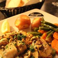 Monkfish, piccata style -- and yummy.