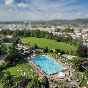 Sandford Parks Lido from the air.