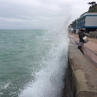 Enjoy crashing waves during high tides