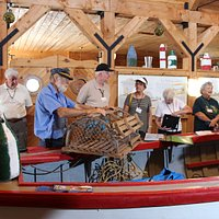The bearded fisherman explaining lobster traps.