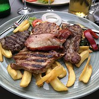 See brass and mixed grill plate
