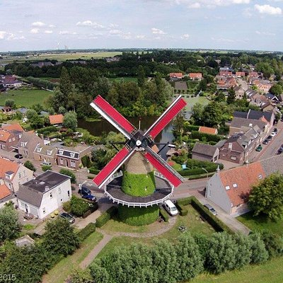 drone-picture of Molen de Arend in the beautiful village Terheijden. (near Breda)