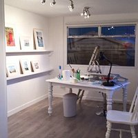 The Studio and Gallery with two of Mary's paintings.