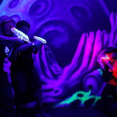 Players of all ages can enjoy a fierce laser battle at Mont Tremblant's Mission Laser.
