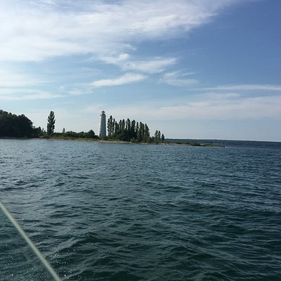view of Christian Island light house from water