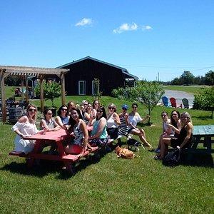 Cyclists enjoying the vineyard & wine tasting