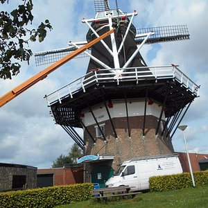 There was a windmill maintenance man and a crane there today.