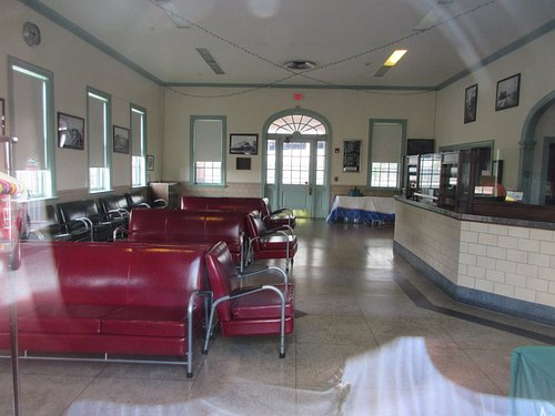 Counters and rest area inside the stadium