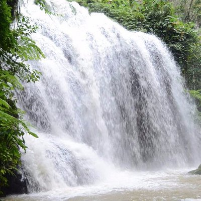Falls where the water exit.